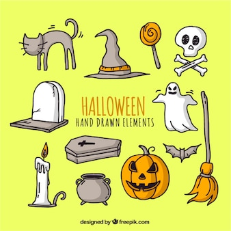 Set of halloween drawings