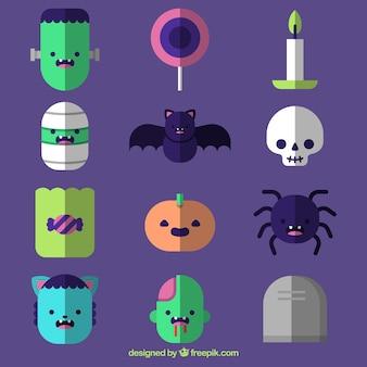 Set di elementi di halloween e personaggi design piatto