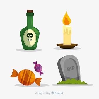 Set of halloween elements flat style