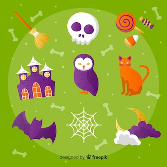 Set of halloween elements flat style