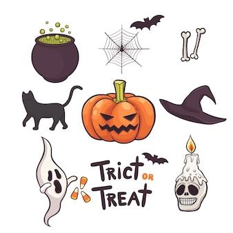 Set of halloween elements hand drawn doodles