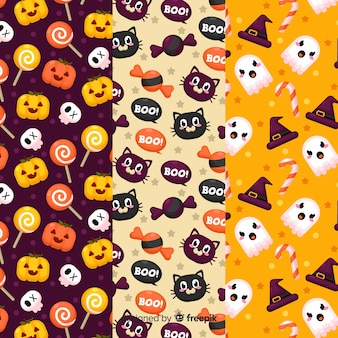 Set of halloween elements pattern