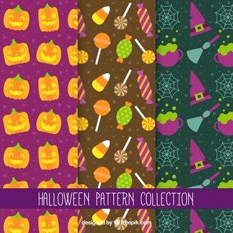 Set of halloween elements patterns in flat design