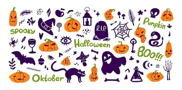 Set of halloween elements pumpkin and silhouette collection funny illustration isolated on white