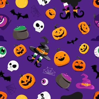 Set of halloween elements seamless pattern