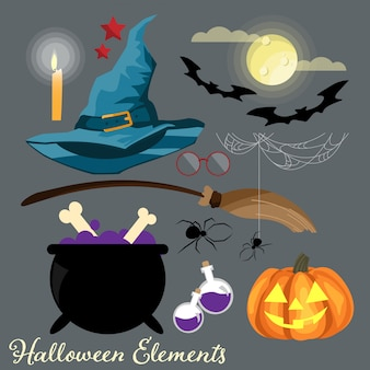 Set of halloween elements and symbols.