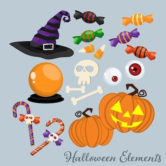 Set of halloween elements and symbols.