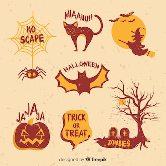 Set of halloween elements in vintage style
