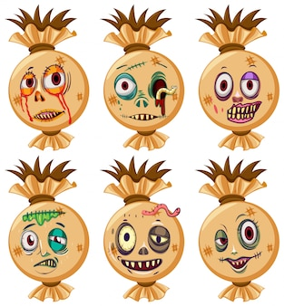 Set of halloween faces