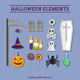 Set of halloween flat elements for holding
