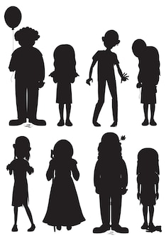 Set of halloween ghost character silhouettes