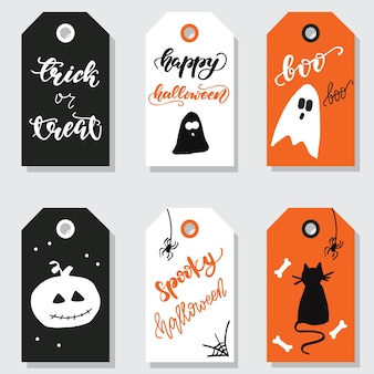 Set of halloween gift tags. vector illustration.