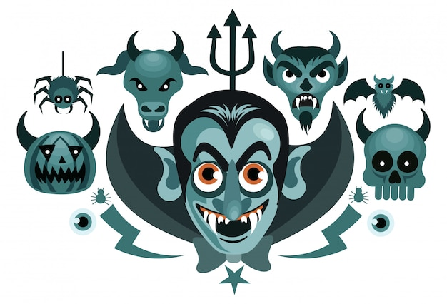 Set of halloween graphics spooky vector illustration