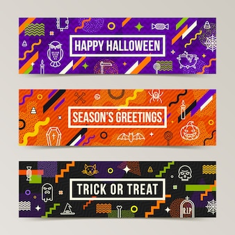 Set of halloween greeting banners. collection of pattern with halloween signs, symbols  and abstract different shape.