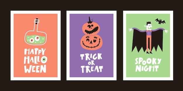 Set of halloween greeting cards with handwritten text and traditional symbols