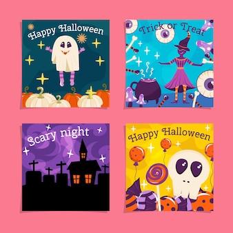 Набор поздравительных открыток хэллоуина с надписями счастливого хэллоуина, жуткой ночи, трюка или удовольствия. жуткий дом ночью с могилами, череп со сладостями, ведьма делает зелье, монстр летает над тыквами.