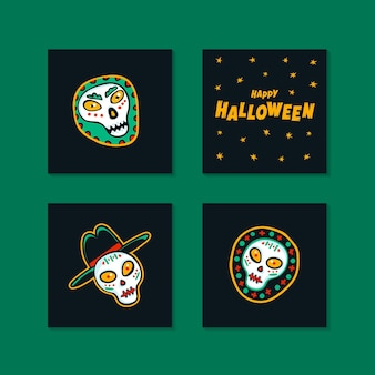 Set of halloween holidays mini cards with handwritten calligraphy greetings and funny skulls