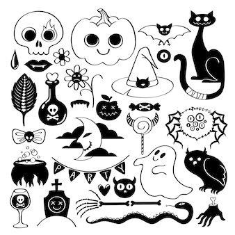 Set of halloween icons on doodle style