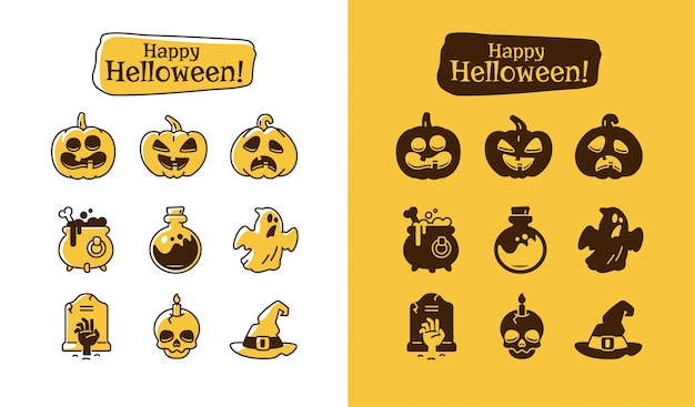 Set of halloween icons. holiday pictograms collection of pumpkin, ghost, magic hat, pot, potion, skull, zombie.