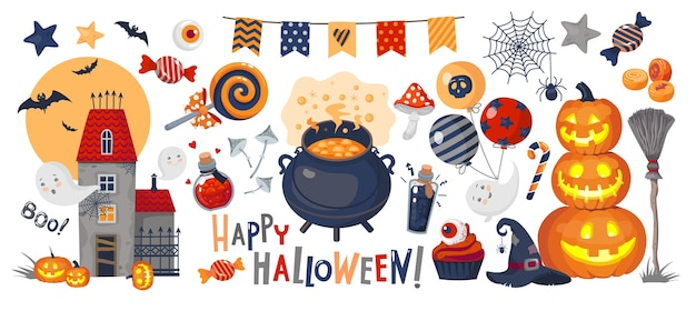 Set of halloween illustrations: pumpkin, ghosts, haunted castle, potion, pot, garland, candy, witch hat, happy halloween inscription.
