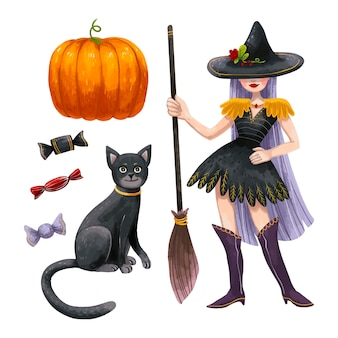 A set of halloween illustrations with a witch with long purple hair, a broom and a magic hat, a black cat, three different sweet candies and a juicy orange pumpkin