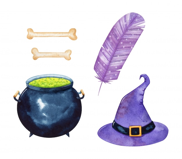 Set of halloween items in watercolor style