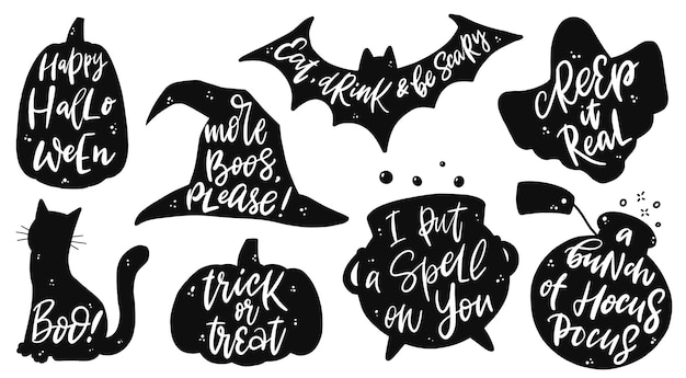 Set of halloween lettering quotes and silhouette