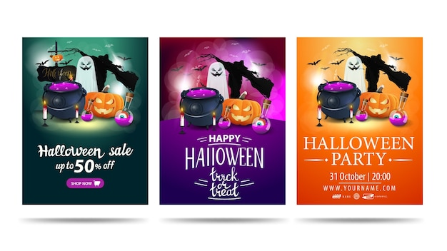 Set of halloween party card invitation with halloween elements