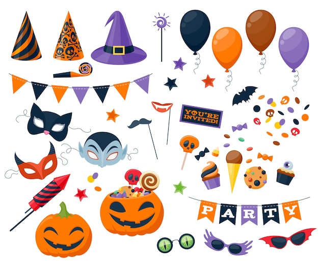 Set of halloween party colorful icons