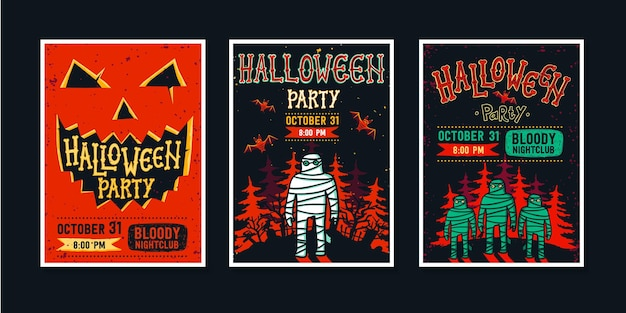 Set of halloween party invitation posters