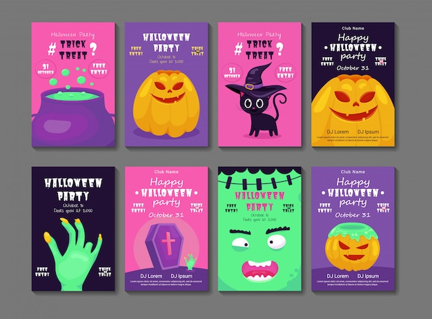 Set of halloween party invitations or greeting cards