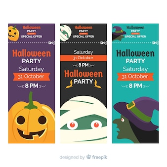 Set of halloween party tickets with monsters