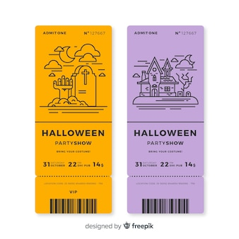 Set of halloween party tickets with outline drawings