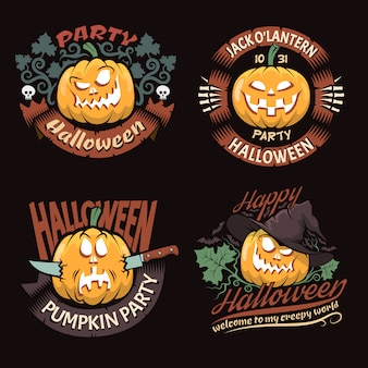 Set of halloween pary emblems