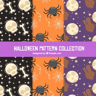 Set of halloween patterns with hand drawn elements