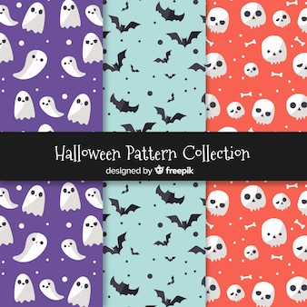 Set of halloween patterns