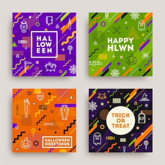 Set of halloween poster, banner or greeting card. collection of pattern with halloween signs, symbols  and abstract different shape.