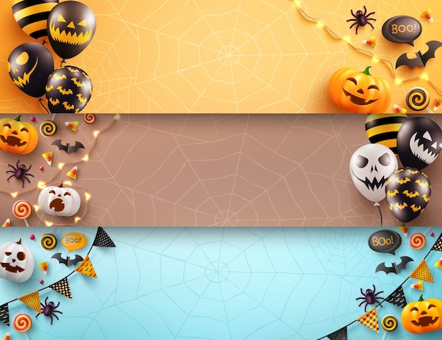 Set of halloween poster and banner template with scary air balloons and halloween element