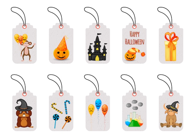 Set of halloween price tags or labels