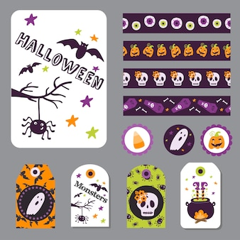 Set halloween printable cards banners stickers and notes