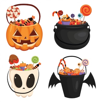 Set of halloween pumpkin bucket filled with sweets. cartoon illustration of a basket for halloween.