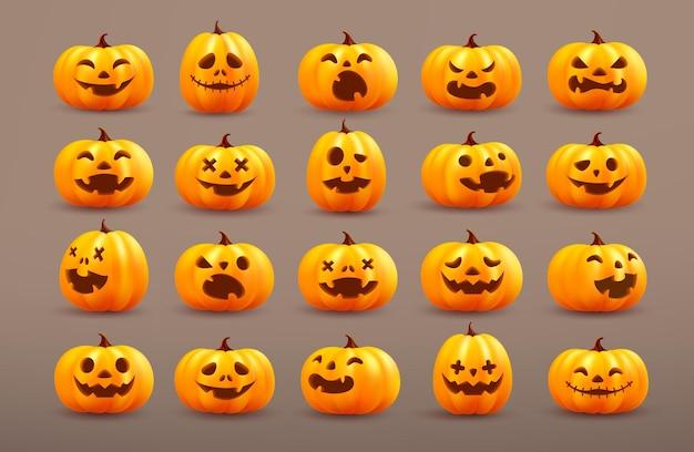 Set of halloween pumpkin ghostvector of cute halloween pumpkin on brown background