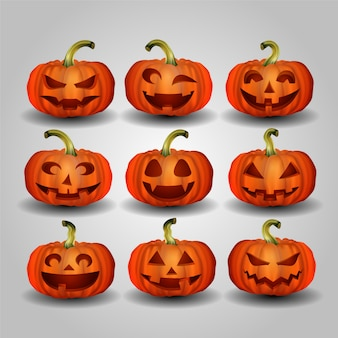 Set of halloween pumpkin set