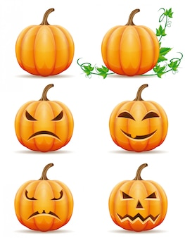 Set of halloween pumpkin vector illustration