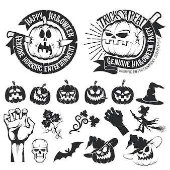 Set of halloween pumpkins and decorative elements