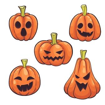 Set of halloween pumpkins face hand drawn