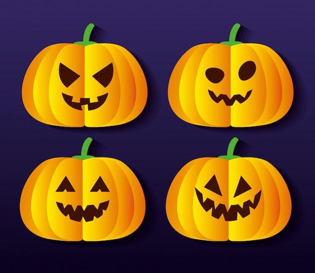 Set of halloween pumpkins in paper cut style