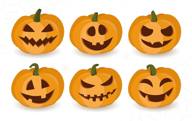 Set of halloween pumpkins with funny or scary faces