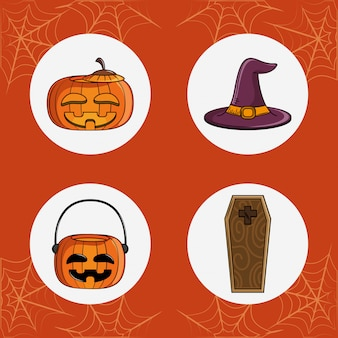 Set of halloween round icons