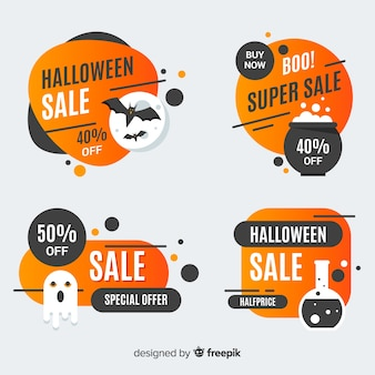 Set of halloween sale badges
